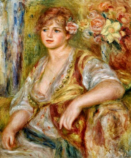 Fair-haired woman with rose in the hair - P.-A. Renoir